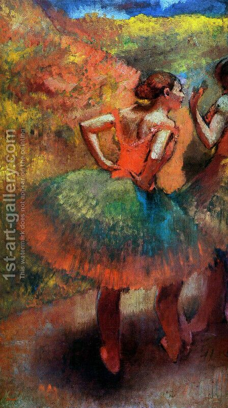 Dancers Wearing Green Skirts, c.1895 by Edgar Degas - Reproduction Oil Painting
