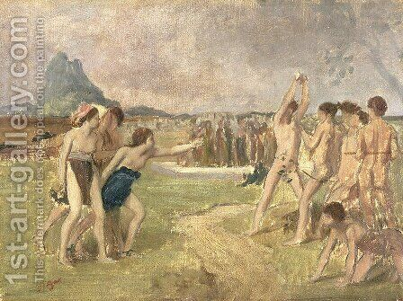 Study for - The Young Spartans Exercising, c.1860-61 by Edgar Degas - Reproduction Oil Painting