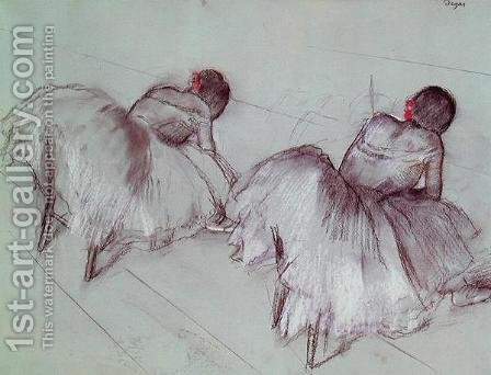 Two Ballet Dancers Resting by Edgar Degas - Reproduction Oil Painting
