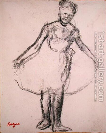 Standing Dancer Holding Tutu by Edgar Degas - Reproduction Oil Painting