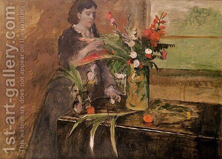 Young woman arranging flowers, 1872 by Edgar Degas - Reproduction Oil Painting