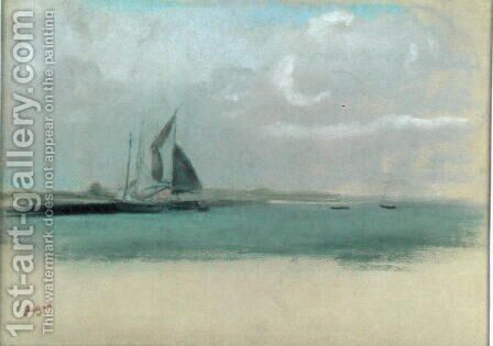 Fishing boats moored in the harbour, c.1869 by Edgar Degas - Reproduction Oil Painting