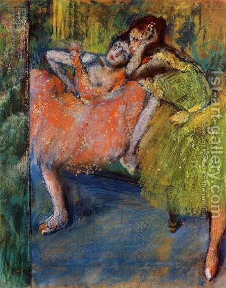 Two Dancers in the Foyer, c.1901 by Edgar Degas - Reproduction Oil Painting