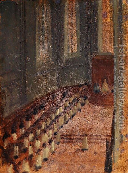Ceremony of Ordination at Lyon Cathedral by Edgar Degas - Reproduction Oil Painting