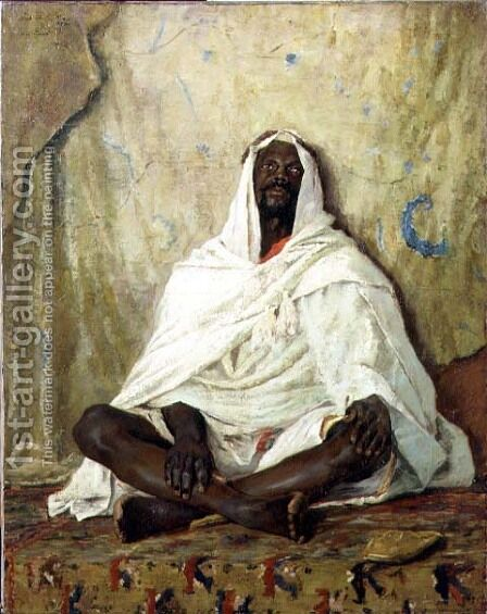 Seated Arab by Alexander Mann - Reproduction Oil Painting