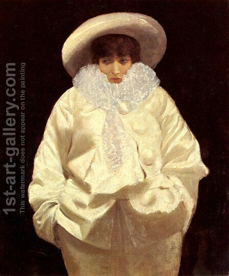 Sarah Bernhardt as Pierrot by Giuseppe de Nittis - Reproduction Oil Painting
