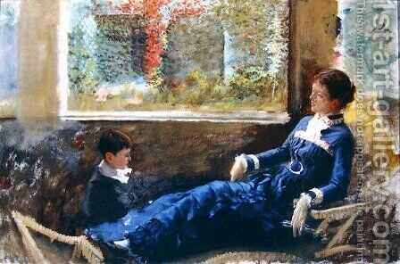Resting, 1879 by Giuseppe de Nittis - Reproduction Oil Painting