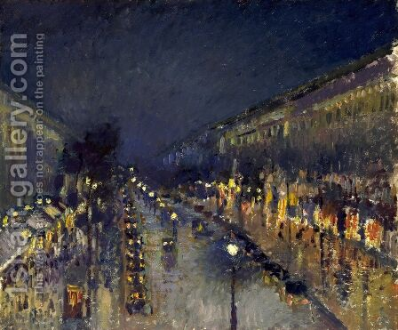 The Boulevard Montmartre at Night, 1897 by Camille Pissarro - Reproduction Oil Painting