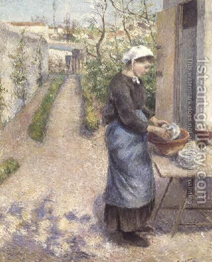 In the Garden at Pontoise: A Young Woman Washing Dishes, 1882 by Camille Pissarro - Reproduction Oil Painting