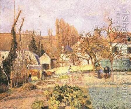 Kitchen garden at the Hermitage, Pontoise, 1874 by Camille Pissarro - Reproduction Oil Painting