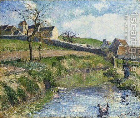 The Farm at Osny, 1883 by Camille Pissarro - Reproduction Oil Painting