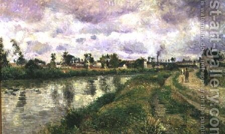 River Scene, 1873 by Camille Pissarro - Reproduction Oil Painting