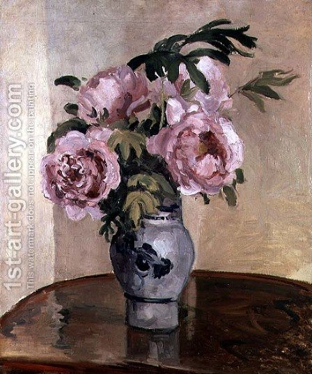 A Vase of Peonies 1875 by Camille Pissarro - Reproduction Oil Painting