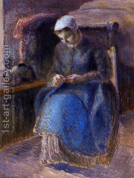 Woman Sewing, 1881 by Camille Pissarro - Reproduction Oil Painting