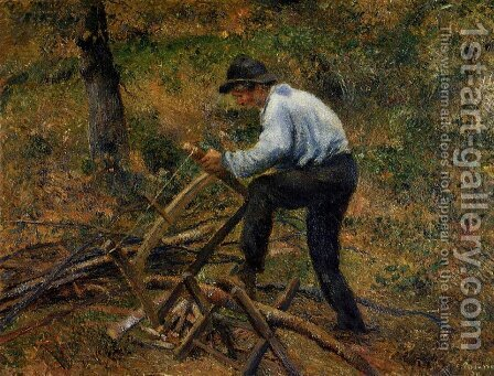 Pere Melon Sawing Wood, Pontoise, 1879 by Camille Pissarro - Reproduction Oil Painting
