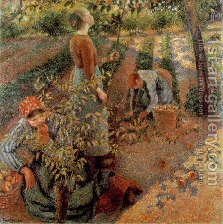 The Apple Pickers, 1886 by Camille Pissarro - Reproduction Oil Painting