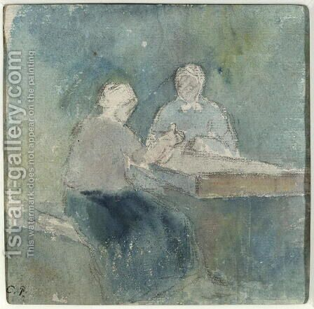 Two Peasants at the Table, c.1874 by Camille Pissarro - Reproduction Oil Painting