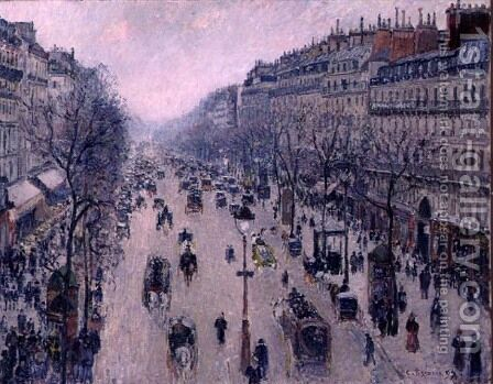 Boulevard Montmartre, Morning, Cloudy Weather, 1897 by Camille Pissarro - Reproduction Oil Painting