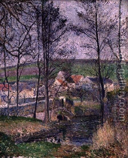 The Banks of the Viosne at Osny in Grey Weather, Winter, 1883 by Camille Pissarro - Reproduction Oil Painting