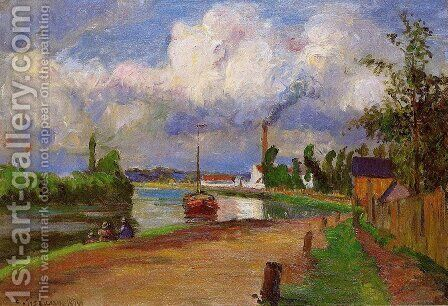 Fishermen on the Banks of the Oise, 1876 by Camille Pissarro - Reproduction Oil Painting
