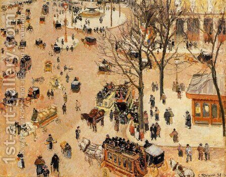 Place du Theatre Francais, 1898 by Camille Pissarro - Reproduction Oil Painting