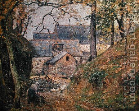 A Farm at Montfoucault, 1894 by Camille Pissarro - Reproduction Oil Painting