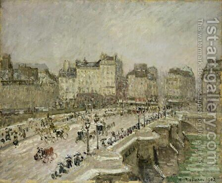 Pont Neuf, Snow Effect, 2nd Series, 1902 by Camille Pissarro - Reproduction Oil Painting