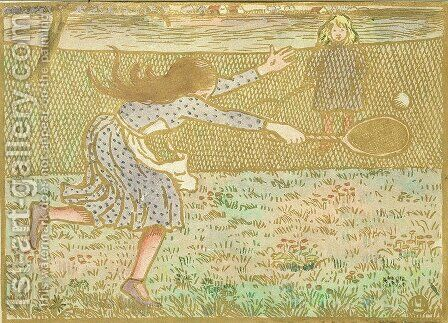 Girls Playing Tennis, from 'Woodcuts in Line and Colours',  1891 by Camille Pissarro - Reproduction Oil Painting