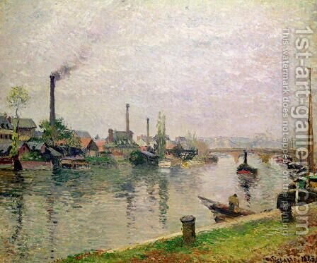 L'Ile la croix a Rouen, 1883 by Camille Pissarro - Reproduction Oil Painting