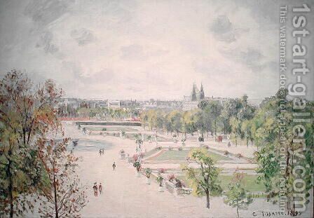 The Garden of the Tuileries, Morning, Grey Weather, 1899 by Camille Pissarro - Reproduction Oil Painting