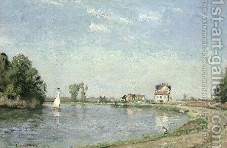 At the River's Edge, 1871 by Camille Pissarro - Reproduction Oil Painting