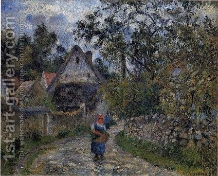 The village path - thatched cottages in Valhermeil, 1880 by Camille Pissarro - Reproduction Oil Painting