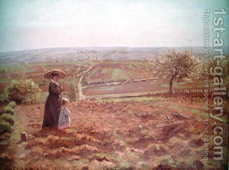 The Road to Rouen, Pontoise, 1872 by Camille Pissarro - Reproduction Oil Painting