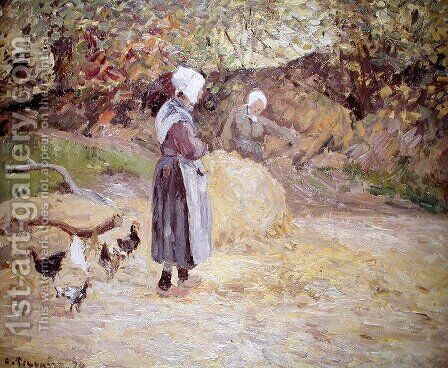 Study of Peasants at Montfoucault, 1874 by Camille Pissarro - Reproduction Oil Painting