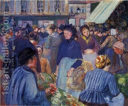 The Market at Gisons, 1889 by Camille Pissarro - Reproduction Oil Painting