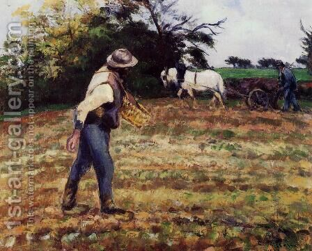The Sower, Montfoucault, 1875 by Camille Pissarro - Reproduction Oil Painting
