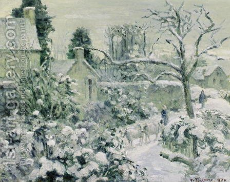 Effect of Snow with Cows at Montfoucault, 1874 by Camille Pissarro - Reproduction Oil Painting
