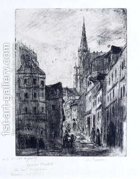 La Rue Malpalue a Rouen, c.1885 by Camille Pissarro - Reproduction Oil Painting