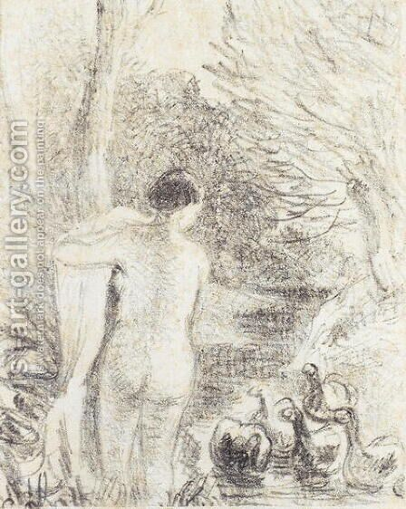 Nude with Swans, c.1895 by Camille Pissarro - Reproduction Oil Painting