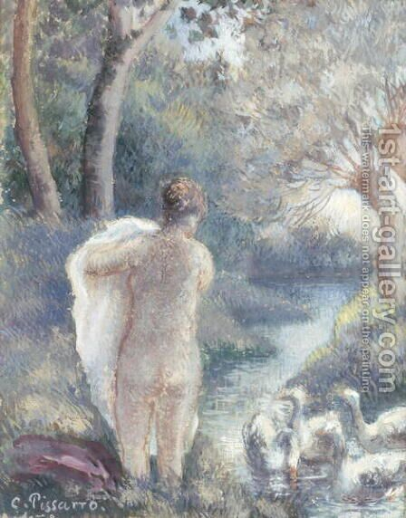 Nude with Swans, c.1895 2 by Camille Pissarro - Reproduction Oil Painting