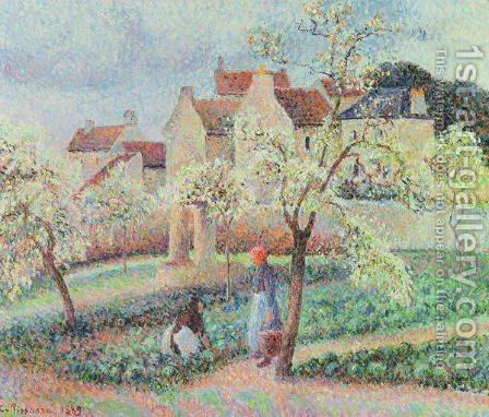 Plum Trees in Flower, 1889 by Camille Pissarro - Reproduction Oil Painting
