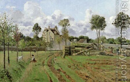 The Vegetable Garden with Trees in Blossom, Spring, Pontoise, 1877 by Camille Pissarro - Reproduction Oil Painting