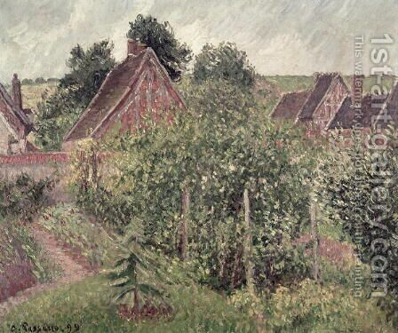 Landscape with Cottage Roofs, 1899 by Camille Pissarro - Reproduction Oil Painting