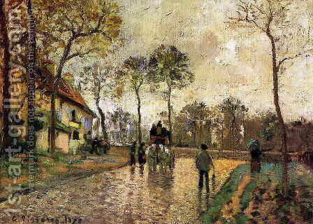 The Coach to Louveciennes, 1870 by Camille Pissarro - Reproduction Oil Painting