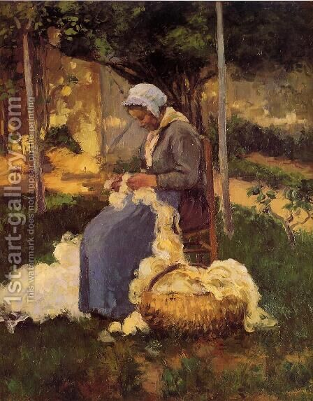 Female Peasant Carding Wool, 1875 by Camille Pissarro - Reproduction Oil Painting