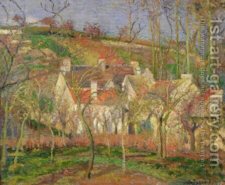 The Red Roofs, or Corner of a Village, Winter, 1877 by Camille Pissarro - Reproduction Oil Painting