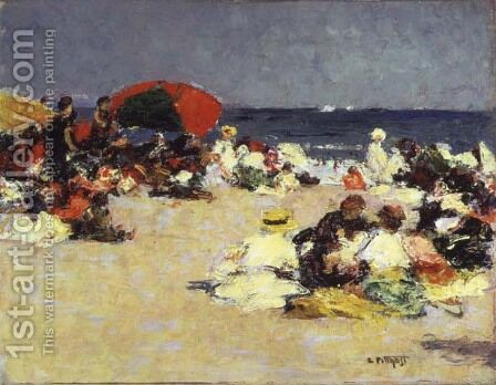On the Beach at Trouville c.1865 by Edward Henry Potthast - Reproduction Oil Painting