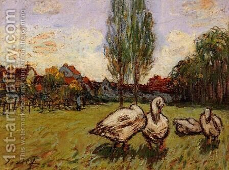 Geese by Alfred Sisley - Reproduction Oil Painting