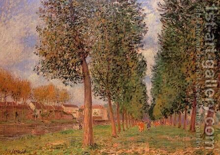 The Poplar Avenue at Moret, Cloudy Day, Morning, 1888 by Alfred Sisley - Reproduction Oil Painting