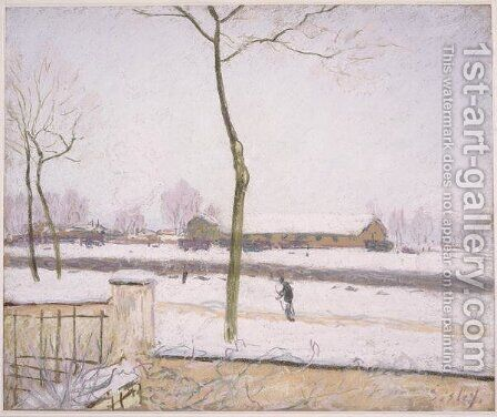 Railway Yards at Moret (Effet de Neige) by Alfred Sisley - Reproduction Oil Painting